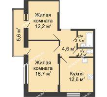 2 комнатная квартира 51,88 м² в ЖК Цветы, дом № 10 - планировка