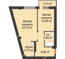 2 комнатная квартира 57,63 м² в Микрорайон Европейский, дом №9 блок-секции 1,2 - планировка
