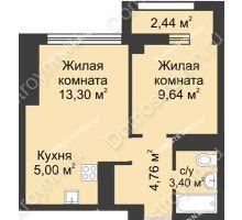 2 комнатная квартира 37,32 м², Каскад на Сусловой - планировка