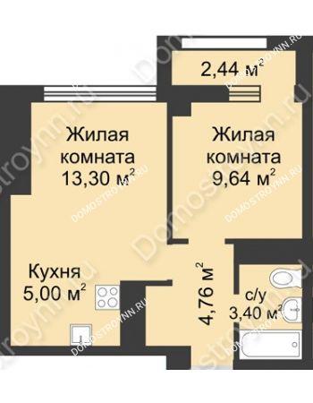 2 комнатная квартира 37,32 м² - Каскад на Сусловой