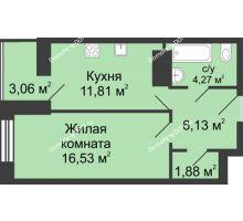 1 комнатная квартира 42,12 м² в ЖК Сердце Ростова, дом Этап I