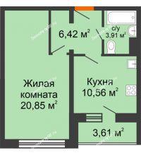 1 комнатная квартира 43,54 м², Жилой дом: №23 в мкр. Победа - планировка