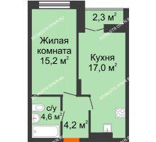 1 комнатная квартира 42,15 м² в ЖК Заречье, дом №1, секция 2 - планировка