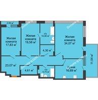 3 комнатная квартира 150,05 м², ЖК Царское село - планировка