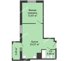 1 комнатная квартира 43,2 м² в ЖК Красная поляна, дом №3