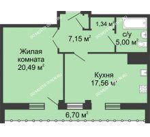 1 комнатная квартира 54,89 м² - ЖК Сергиевская Слобода