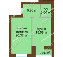 1 комнатная квартира 46,38 м² в ЖК Парк Горького, дом 62/6, № 3