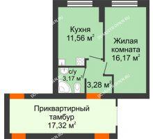 1 комнатная квартира 34,4 м² - ЖК Янтарный