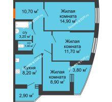 3 комнатная квартира 62,2 м² в ЖК Вересаево, дом Литер 11 - планировка