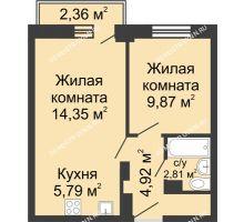 2 комнатная квартира 38,44 м² - ЖК Каскад на Волжской