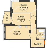 2 комнатная квартира 58,26 м² в ЖК Сердце Ростова 2, дом Литер 8 - планировка