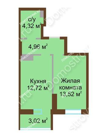 1 комнатная квартира 38,54 м² в ЖК Красная поляна, дом № 8
