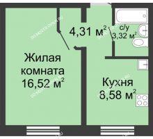 1 комнатная квартира 32,8 м² в ЖК Корабли, дом № 6