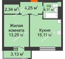 1 комнатная квартира 40 м², ЖК На Высоте - планировка