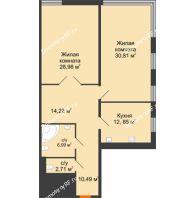 Студия 106,8 м², Жилой дом на ул. Платонова, 9,11 - планировка