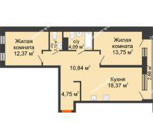2 комнатная квартира 67,58 м² в Микрорайон Видный, дом ГП-20 - планировка