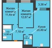 3 комнатная квартира 61,39 м² в ЖК Квартал на Московском, дом Альфа - планировка