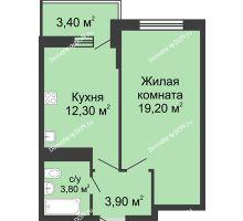 1 комнатная квартира 40,9 м² в ЖК Первый, дом Литер 2 - планировка