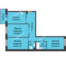 3 комнатная квартира 73,77 м² в ЖК Новый Академгородок, дом № 2 - планировка