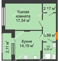 1 комнатная квартира 46,94 м² в ЖК Суворов-Сити, дом 1 очередь секция 6-13 - планировка