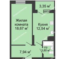 1 комнатная квартира 46,3 м² в ЖК Красная поляна, дом № 6