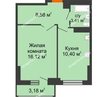 1 комнатная квартира 40,1 м², ЖК Орбита - планировка