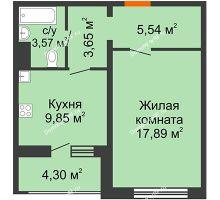 1 комнатная квартира 42,65 м² в ЖК Микрорайон Боровое, дом № 15 - планировка