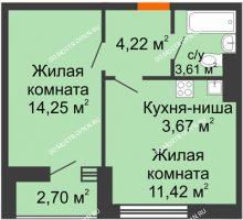 1 комнатная квартира 39,87 м² - ЖК Олимпийский