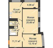 2 комнатная квартира 67,14 м² в ЖК Малахит, дом № 1 - планировка