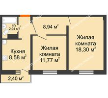2 комнатная квартира 51,25 м² в ЖК Торпедо, дом № 16 - планировка