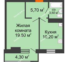1 комнатная квартира 40,5 м² в ЖК Восточный парк, дом Литер 3 - планировка