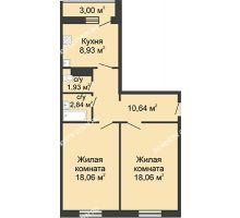 2 комнатная квартира 61,96 м² в ЖК Бурнаковский, дом № 38 - планировка