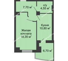 1 комнатная квартира 44,75 м² в ЖК Новый Город, дом № 3 - планировка