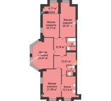 4 комнатная квартира 127,33 м² в ЖК Дом на Провиантской, дом № 12 - планировка