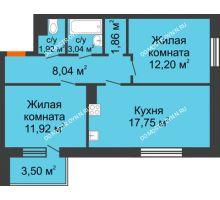 2 комнатная квартира 57,78 м², Жилой дом: г. Дзержинск, ул. Буденного, д.11б - планировка