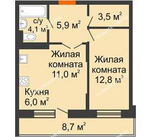 2 комнатная квартира 45,9 м² в ЖК Жюль Верн, дом № 1 корпус 2 - планировка