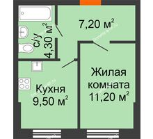 1 комнатная квартира 32,2 м² в ЖК Куйбышев, дом № 15 - планировка