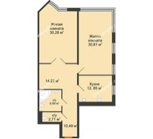 2 комнатная квартира 108,35 м², Жилой дом на ул. Платонова, 9,11 - планировка