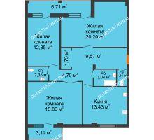 3 комнатная квартира 91,81 м², Жилой дом: г. Арзамас, ул. Матросова, д. 13 - планировка