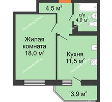 1 комнатная квартира 40 м² в ЖК Вересаево, дом Литер 6/2 - планировка