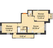 2 комнатная квартира 65,29 м², ЖК Шаляпин - планировка