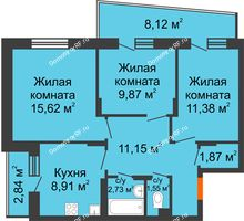 3 комнатная квартира 68,56 м², Жилой дом Кислород - планировка