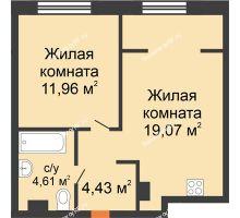 """2 комнатная квартира 40,07 м² в ЖК Европейский берег, дом ГП-9 """"Дом Монако"""" - планировка"""