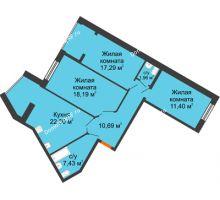 3 комнатная квартира 89,26 м² в ЖК Бунина парк, дом 3 этап, блок-секция 3 С - планировка