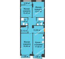 3 комнатная квартира 87,54 м², Клубный дом на Ярославской - планировка