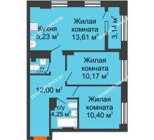 3 комнатная квартира 58,94 м² - ЖК Каскад на Сусловой