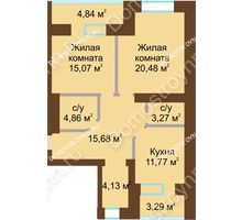 2 комнатная квартира 75,195 м² в ЖК Солнечный город, дом на участке № 214