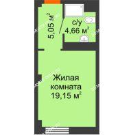 Апартаменты-студия 28,86 м², Апарт-Отель Гордеевка - планировка