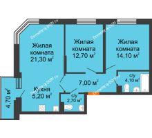 3 комнатная квартира 69,8 м² в ЖК Династия, дом Литер 2 - планировка
