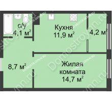 1 комнатная квартира 43,6 м² в ЖК Славянский квартал, дом № 5а, 7 - планировка
